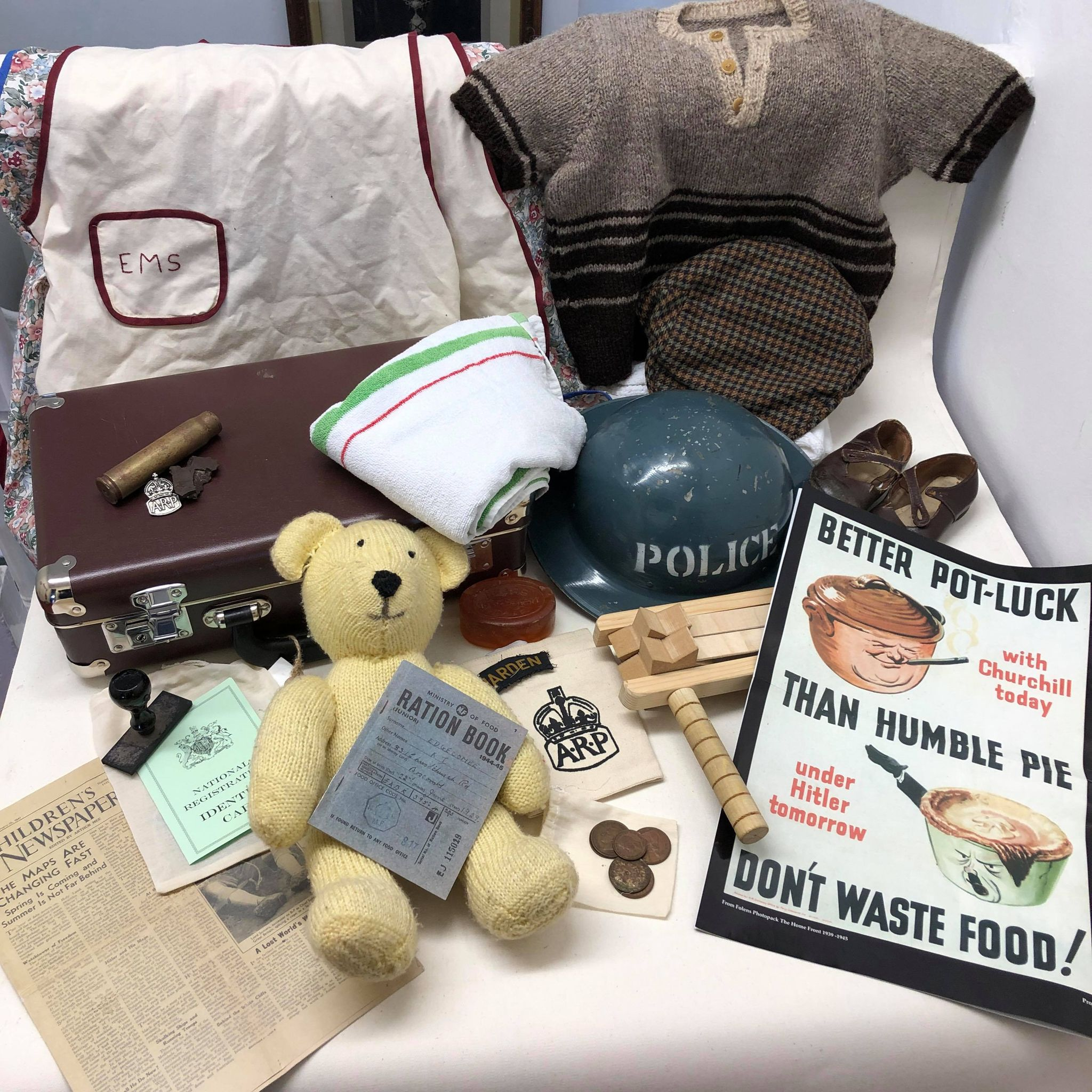 Evacuee box contents childs items and arp warden items