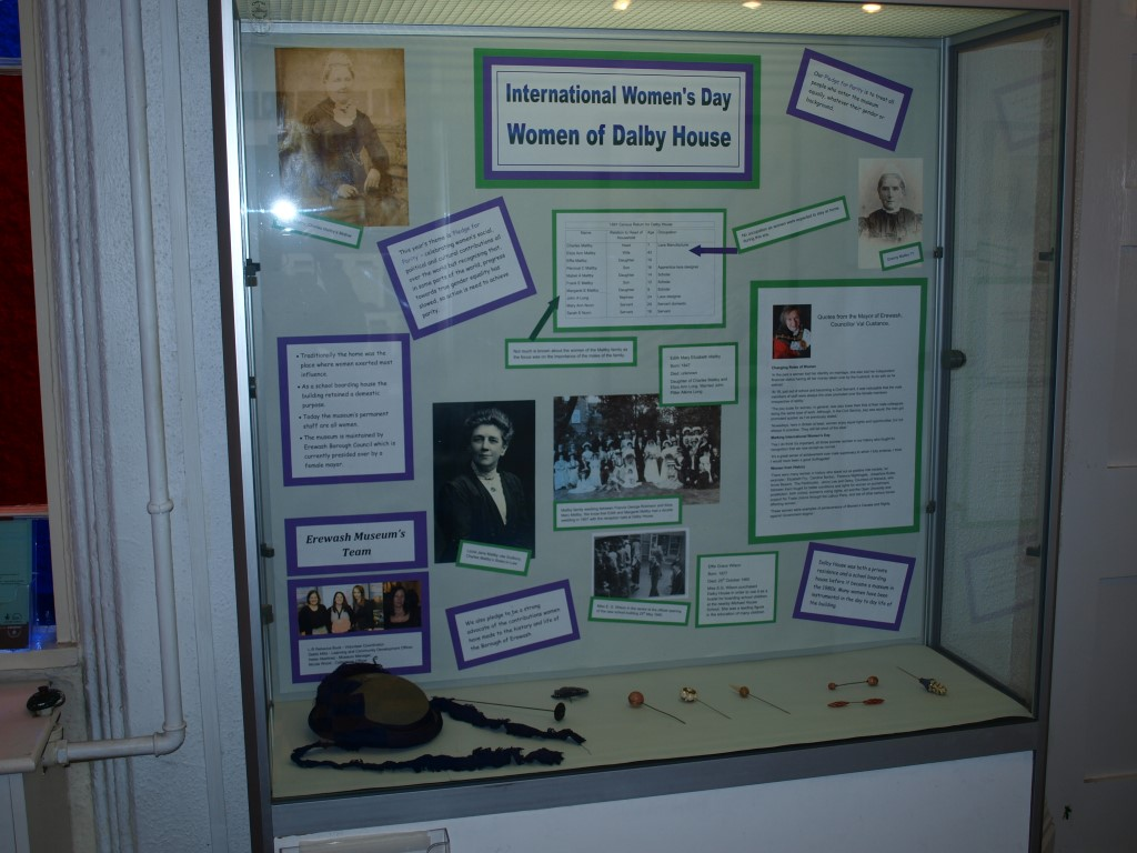 Student's display in a cabinet at the museum